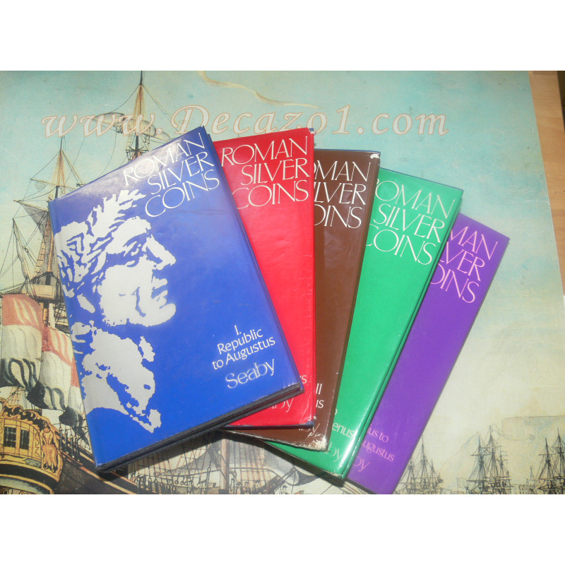 Complete Set of current Editions of the Roman Silver coins by Seaby, Loosley, Sear & King  volumes 1-5